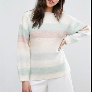 Reiss Naya pastel Striped oversized sweater SMALL